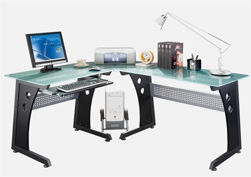 Modern L Shaped Corner Desk With Frosted Glass Top Keyboard Tray Gaming Computer Desk L Shaped Corner Desk Desk