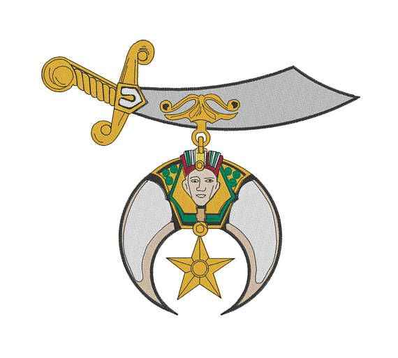 Shriners Emblem Embroidery Design Scimitar And Crescent 4x4 6x6