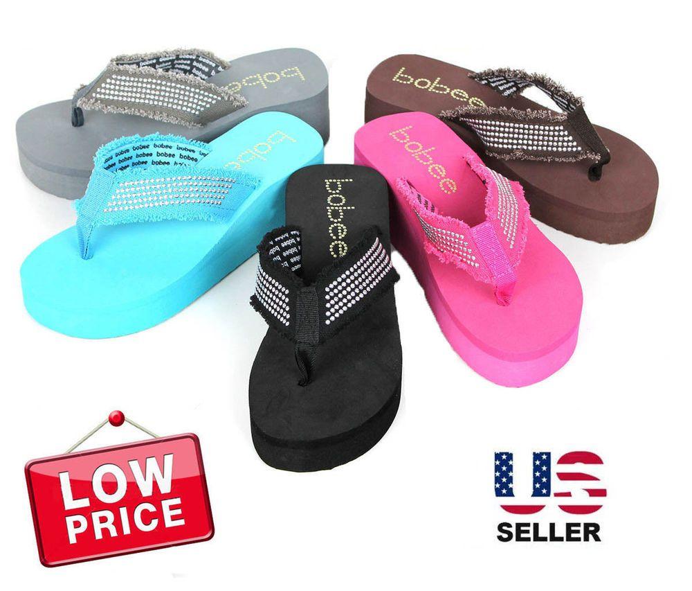cd6ae94f2e91 NEW Womens Fashion Wedge Platform Thong Slip On Flip Flops Sandals EVA 2.5  inch