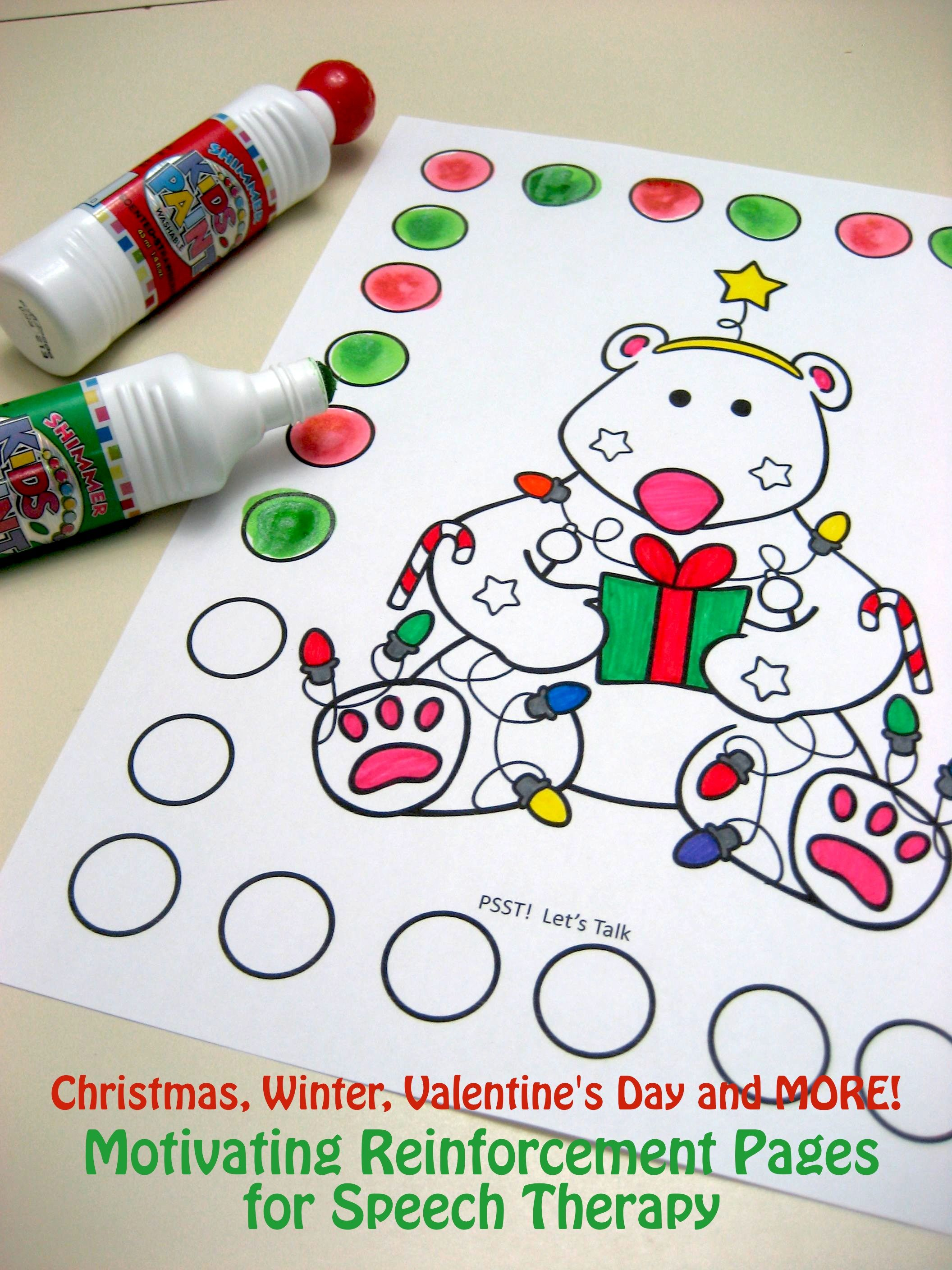 Coloring activities speech therapy - Speech Therapy Reinforcement Pages For Winter Christmas Olympics Winter Sports Chinese