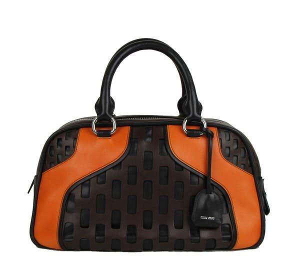 Nwt New Authentic Miu Brown Black Orange Lockable Tote Bag