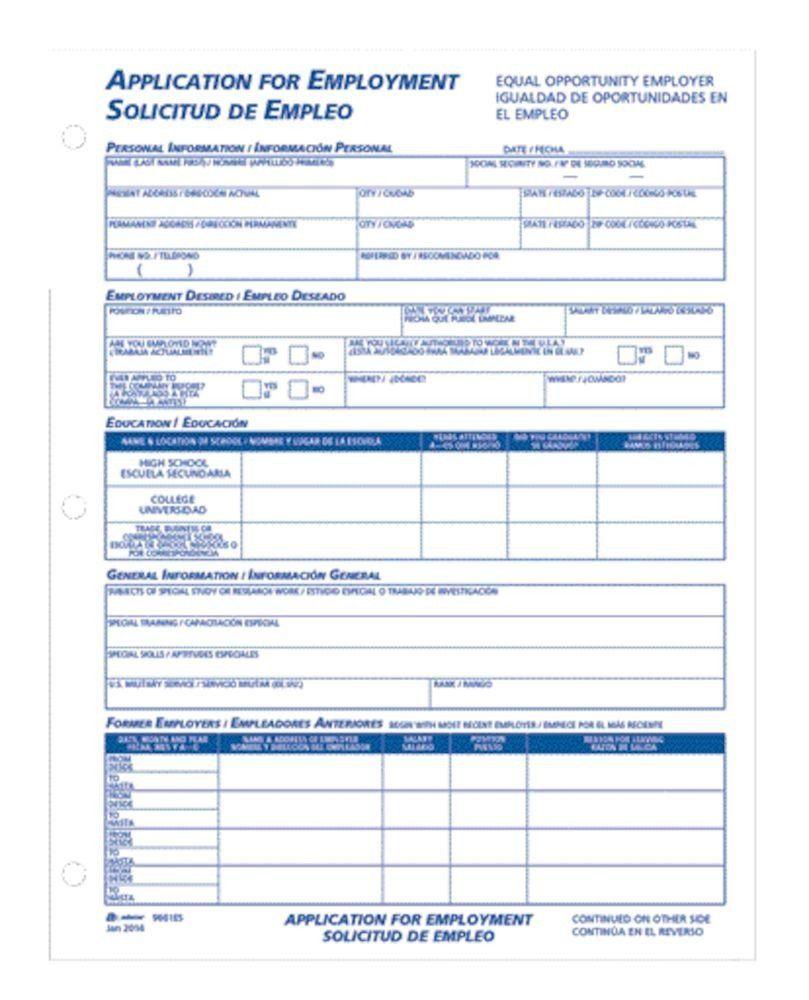 Printable Job Application In Spanish Bilingual Employee Application English Spanish 2 Pk Printable Job Applications Job Application Meeting Agenda Template Free bilingual employment application form