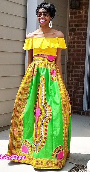 d6b259dd26 Pink with Green/Yellow Dashiki Ankara African Print Maxi Skirt (XS - 6XL) Plus  Size Too. Pink with Green and Yellow Print. Skirt is floor length.