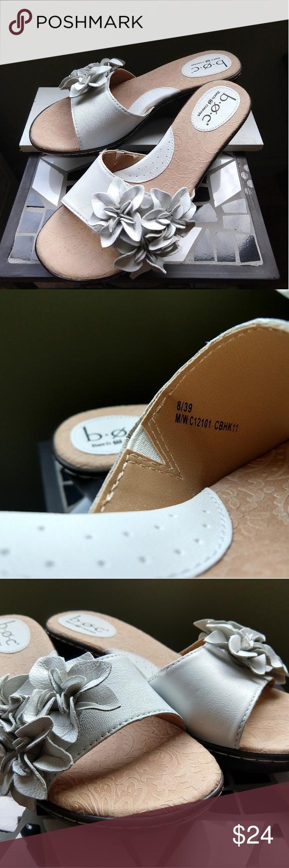 d184cf97fc Born BOC White leather Slip on Sandals BOC Born Concept Womens White  Leather Slip On Open Toe Flowers Solid Wedges Sz 8 Born Shoes Sandals