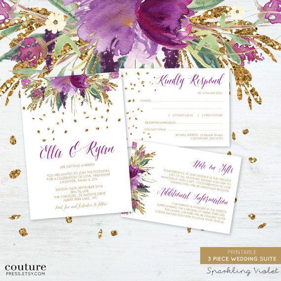 Printable Wedding Invitation Sets: Printable Wedding Invitation Set, Watercolour Sparkling