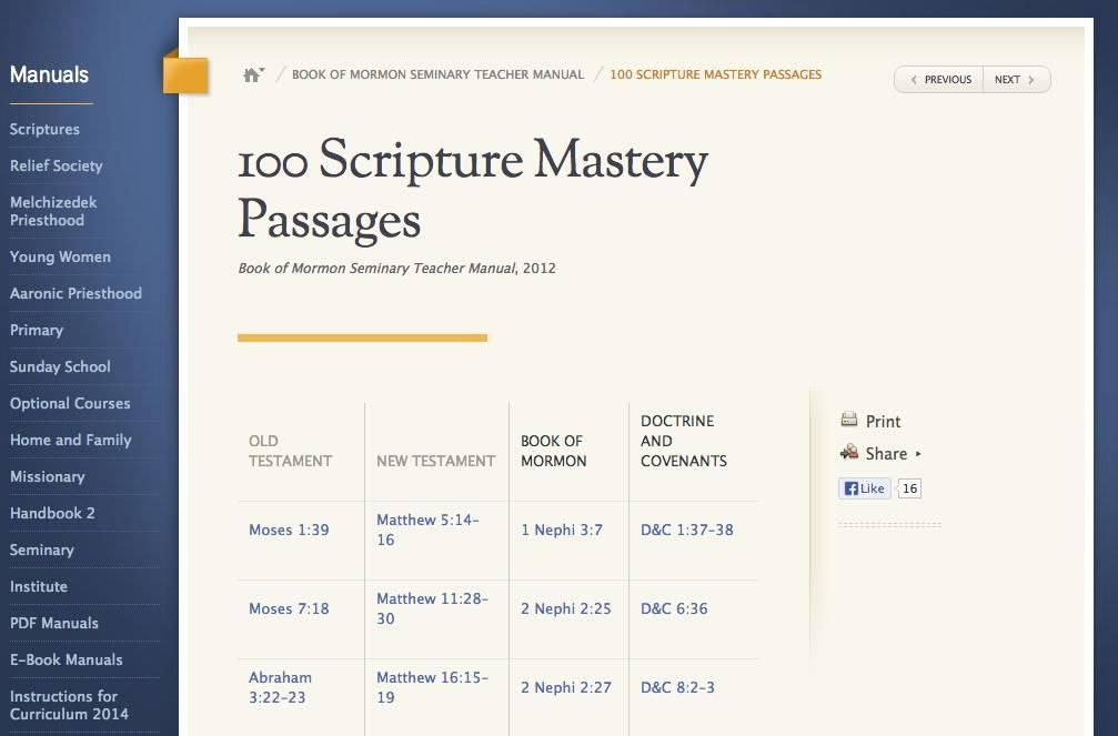 LDS 'Scripture Mastery' updated for Mormon seminary