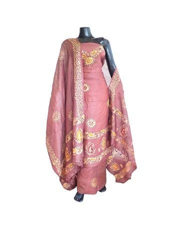 a3c0f9511b Batik Print Salwar Suit in Khadi Cotton Silk - Brown:This beautiful salwar  suit piece has has handloom chanderi silk cotton kurta and dupatta,and  bottom