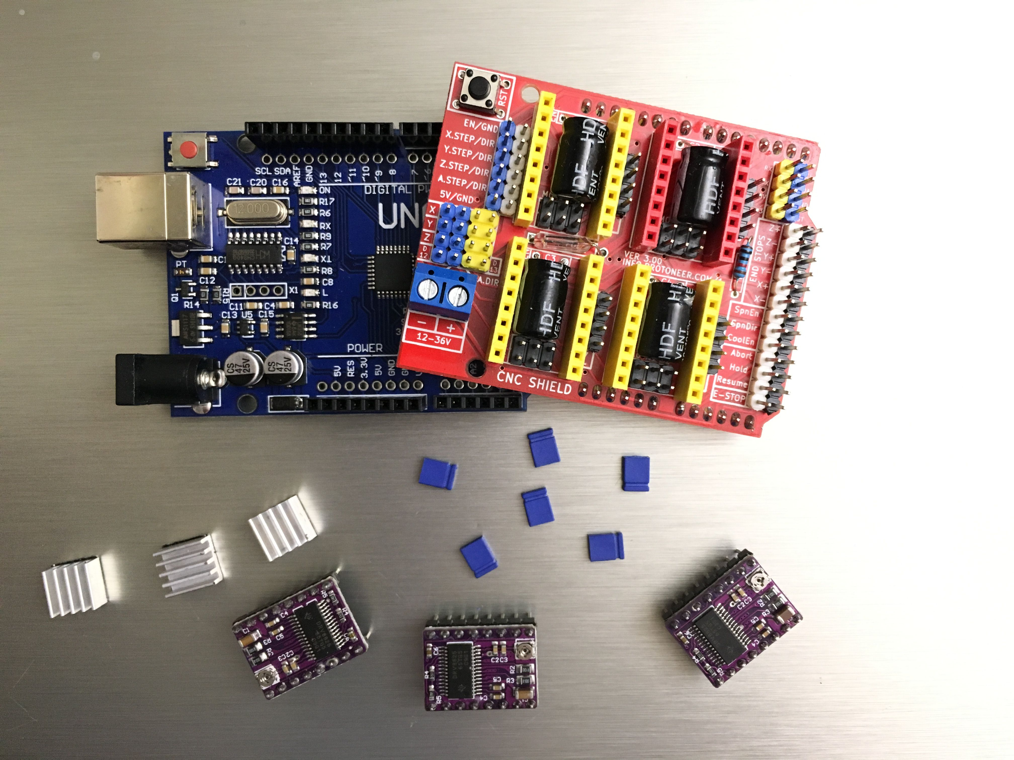 CNC Steuerung mit Arduino UNO R3, CNC Shield V3 (Expansion ... on