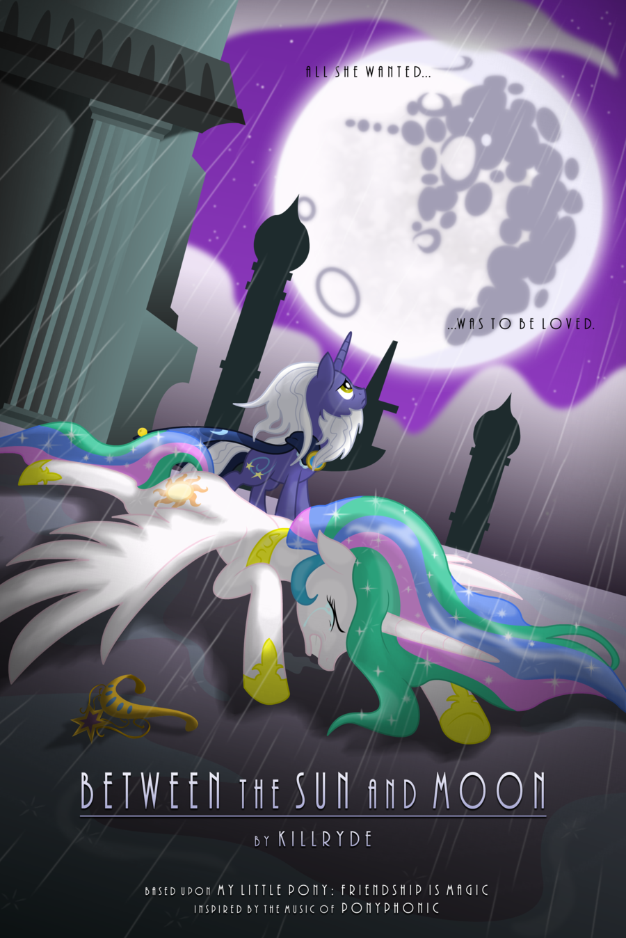 Between The Sun And Moon Promo Poster by Killryde.deviantart.com on @deviantART/ I still don't understand how Celestia didn't notice Luna's loneliness and bitterness until it was too late. Of course as a princess she would be busy but Luna was her sister and the only other alicorn around for pony's sake!