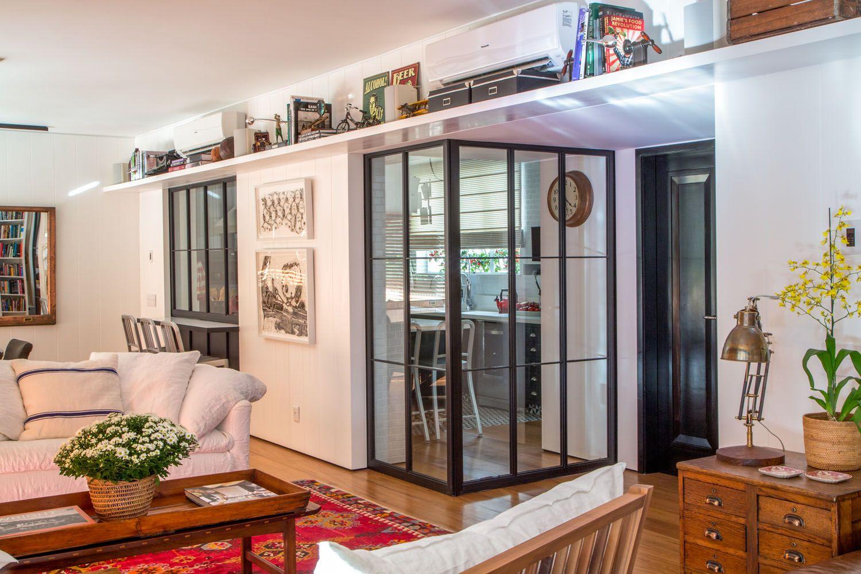Cozinha Separada Da Sala Por Parede E Divis Rias M Veis De Vidro  ~ Divisoria Para Cozinha E Sala