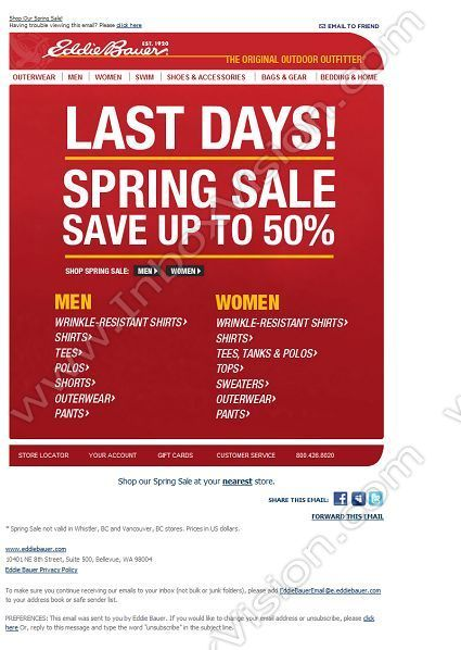 company eddie bauer subject last days spring sale save up to 50