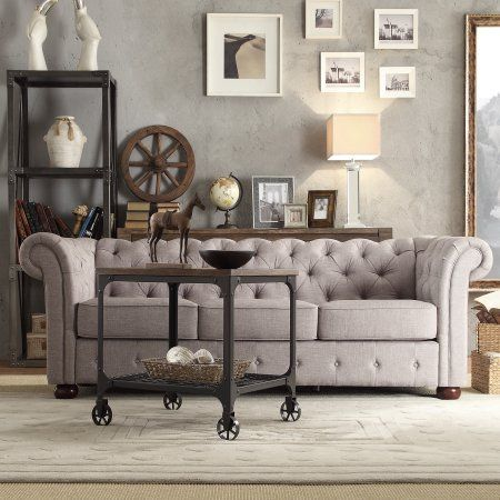 Swell Chelsea Lane Glamorous Tufted Sofa Gray Linen Home Decor Ocoug Best Dining Table And Chair Ideas Images Ocougorg