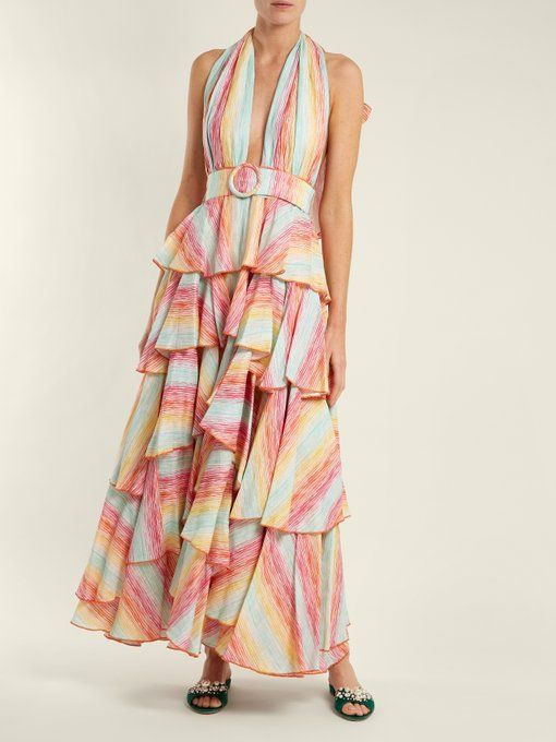 Striped halterneck tiered linen dress G AGinEnn