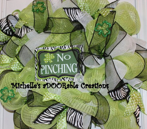 Zebra Lime Green and White St Patricks Day by MaDoorableCreations, $55.00