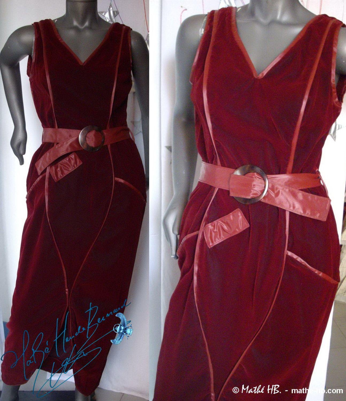 Robe Longue De Collection Haute Couture Styliste Velours Rouge Bordeaux Et Vinyle Irise Ceremonie Et Soiree Cocktail Fete Scene Dress Fashion Stage Outfits