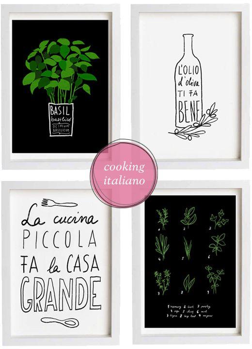 Italian Kitchen Poster Typography Kitchen Art Print Italian Poster Italian Art Italian Quote Set Of Prints Kitchen Prints Kitchen Art Kitchen Art Prints