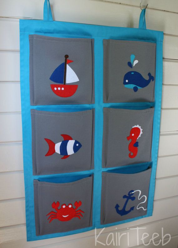Hanging Wall Organizer For Kids Pocket Storage Boys Room Decor Nautical Sea Theme