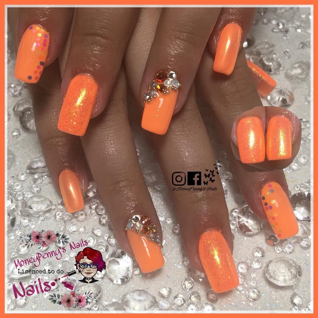Tropical Margarita Super Bright Neon Orange Holiday Nails For My