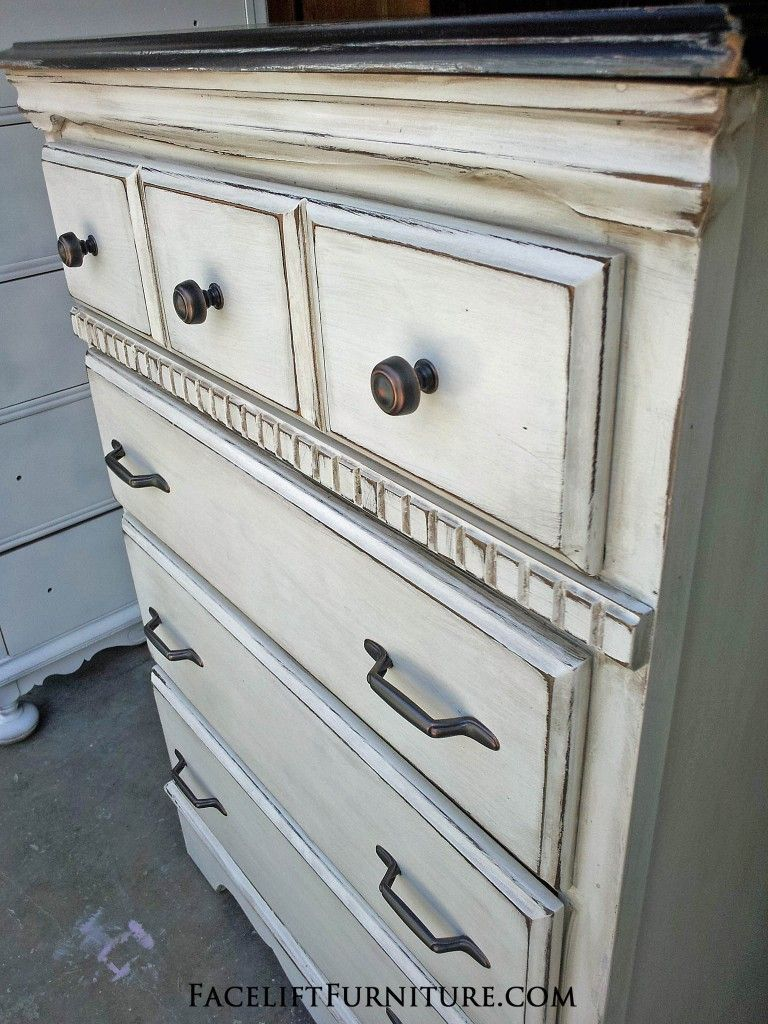 Antiqued White Chest with Black Top - Facelift Furniture - Antiqued White  Chest With Black Top - Antiqued White Furniture Antique Furniture