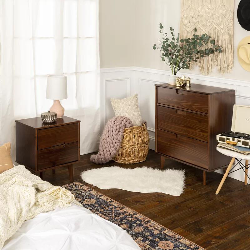 Dorinda Groove Handle Wood 3 Drawer Dresser Furniture Dresser Drawers Mid Century Modern Dresser