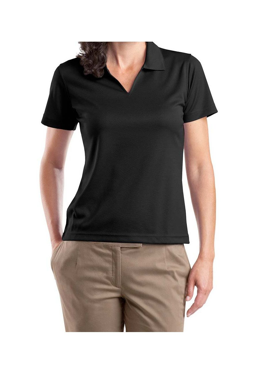 Sport Tek Ladies V Neck Dri Mesh Polo Black 3x Ladies Vneck