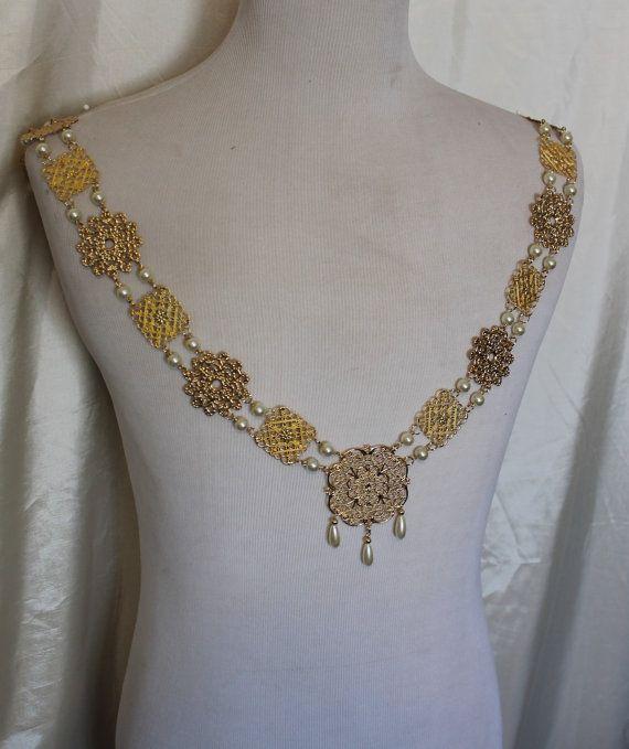 Roi Henry or Mens Tudor chane de cou Renaissance Costume Jewelry