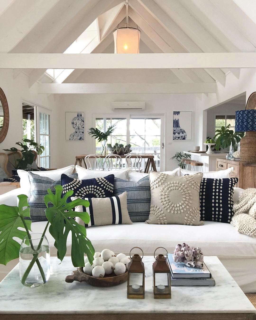 Modern Neutral Beach House Coastal Decorating Living Room