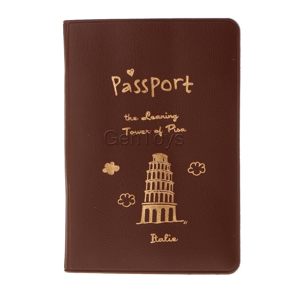 1Pc Passport Credit Card Holder Protector Pu Leather Cover Travel Accs Brown