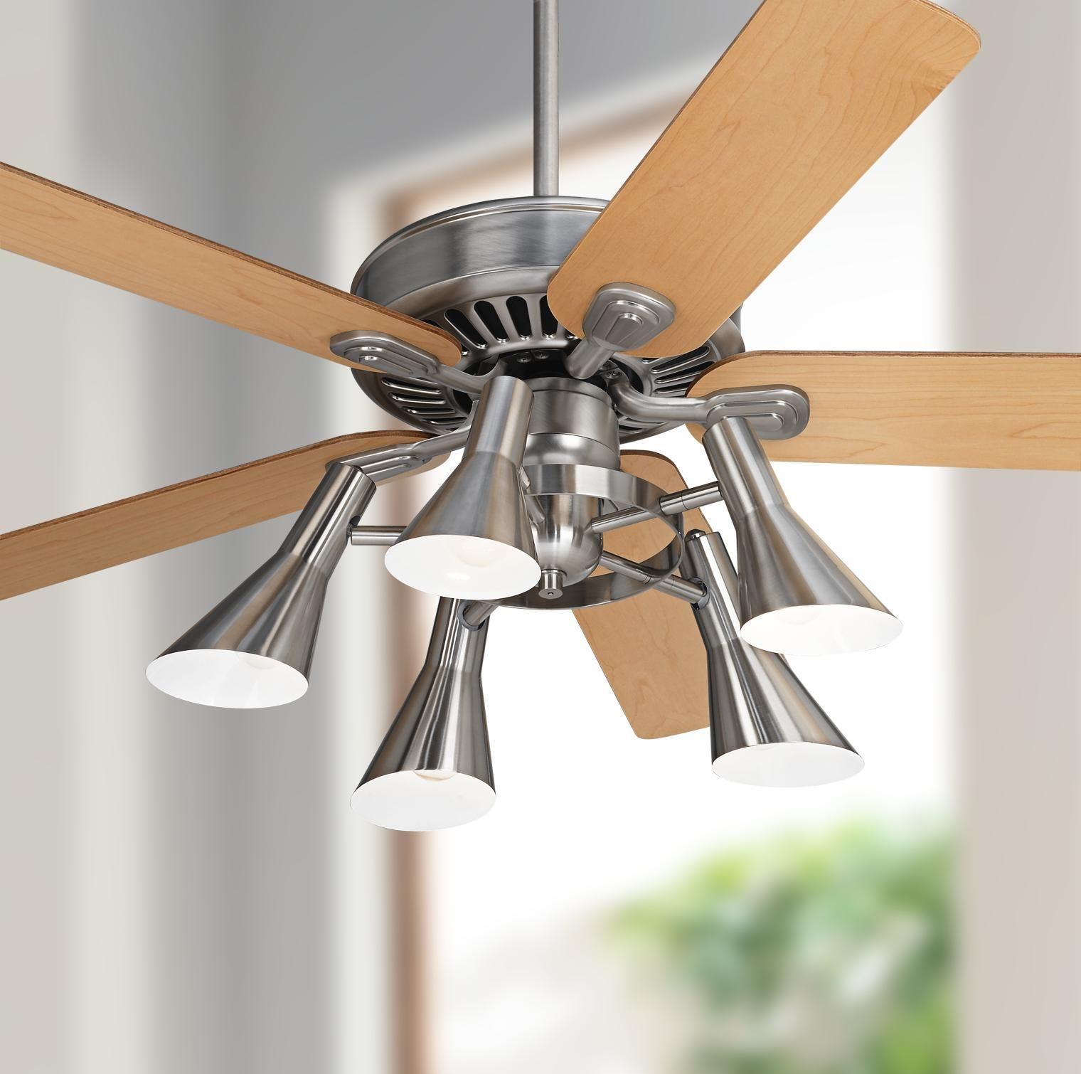 Ceiling Fans 52 Windstar Ii Maple Retro 5 Light Led Ceiling Fan In 2020 Ceiling Fan Led Ceiling Fan Contemporary Ceiling Fans