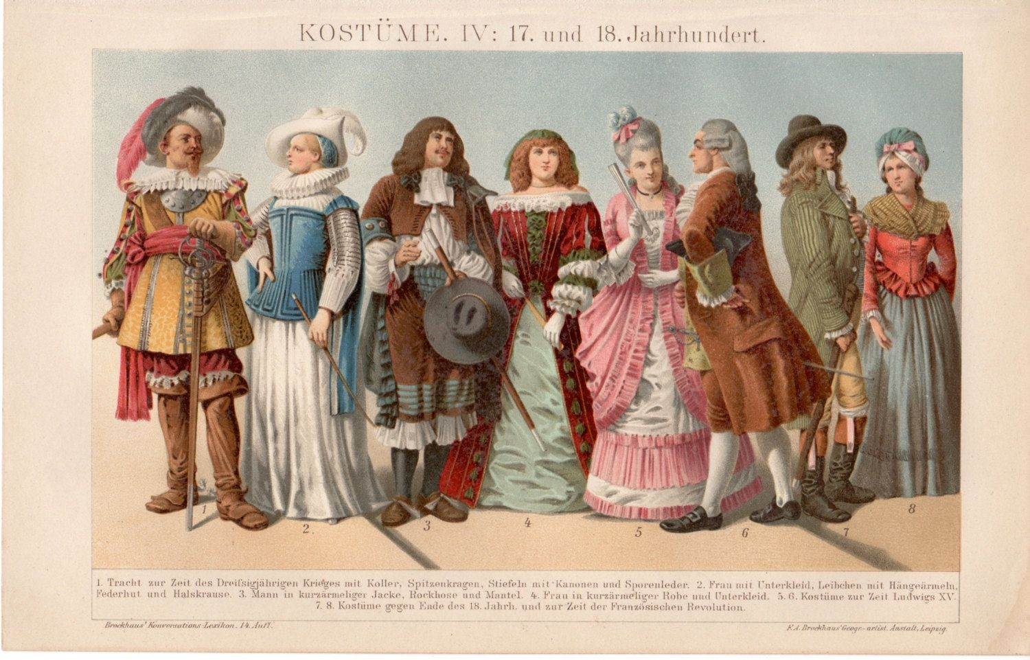 17th Century Costumes 1894 Antique Print Vintage Lithograph