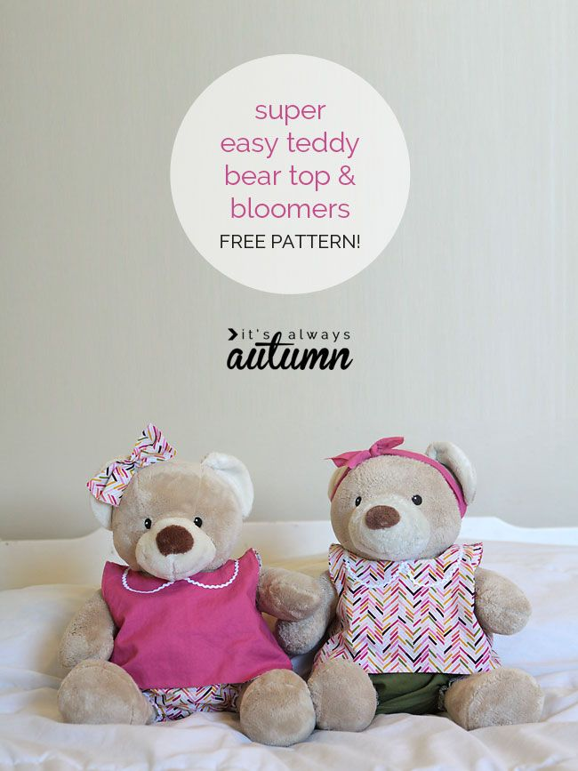 Free Pattern For Easy To Sew Teddy Bear Clothes Buildabear Custom Build A Bear Clothes Patterns