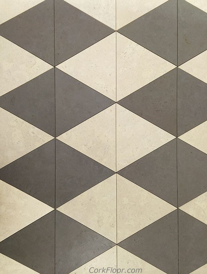 Triangle Cork Flooring Tiles In Alabaster And Cement Gray Colors