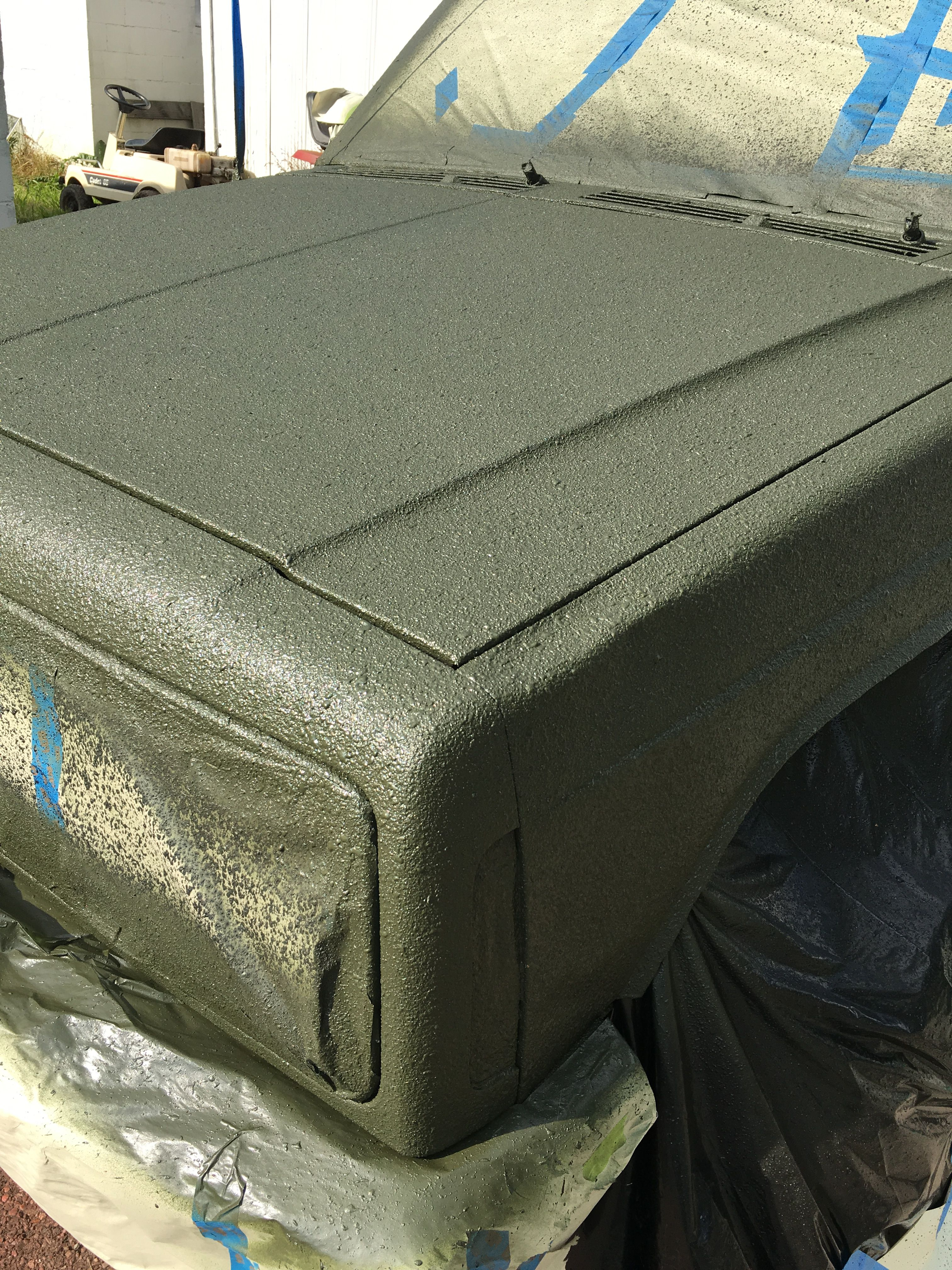 Truck Liner Spray >> Paint after bed liner, two quarts of hunter green gloss one quart of rust red primer, mixed then ...