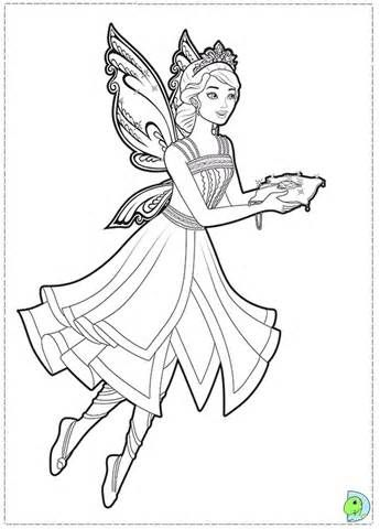 Coloring Page Barbie Mariposa Fairy Princess ColiringPage 07