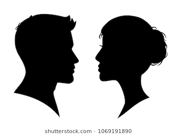 Man And Woman Silhouette Face To Face Stock Vector Man And Woman Silhouette Silhouette Face Woman Silhouette