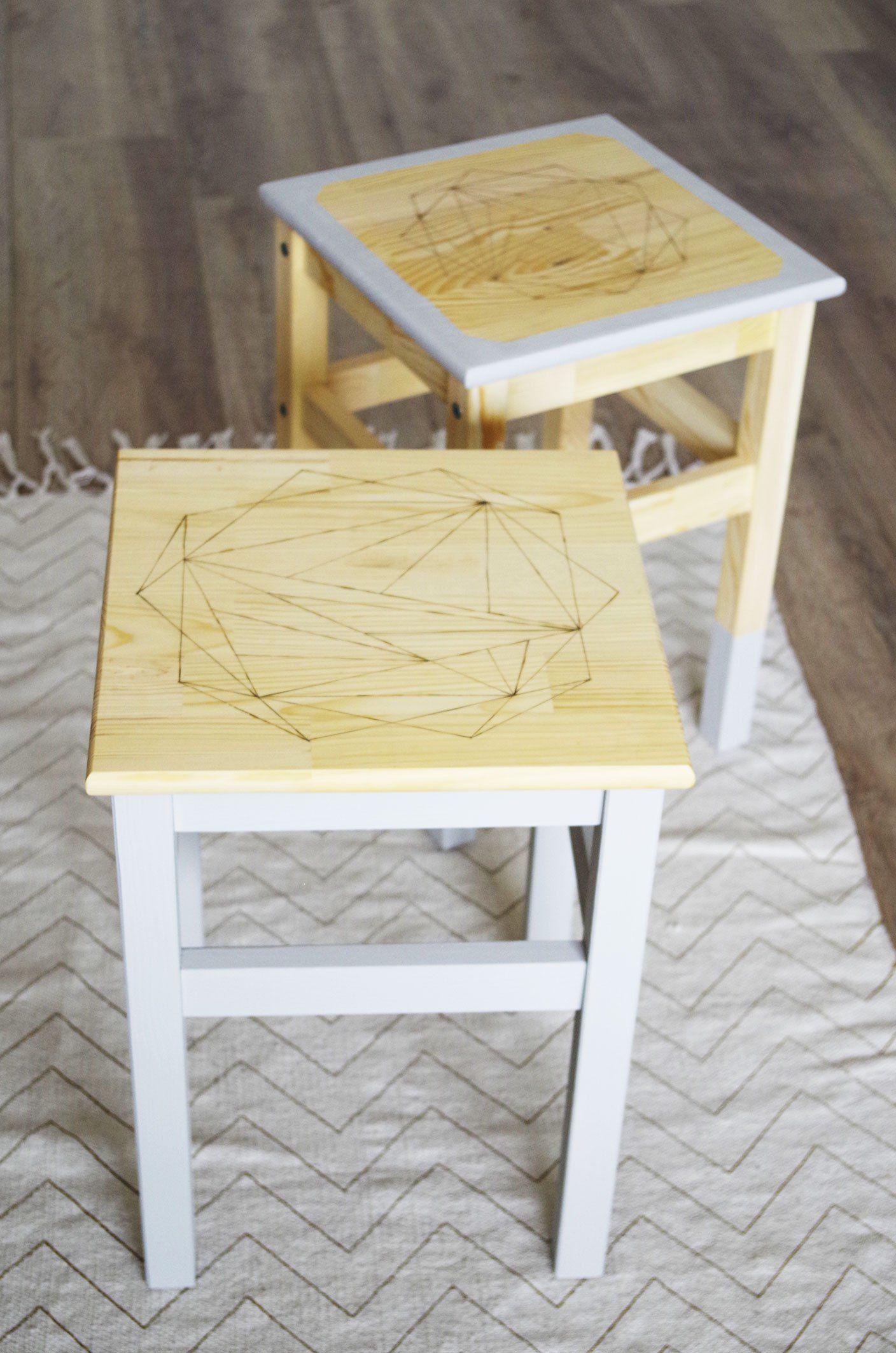 ikea hack n 3 les tabourets oddvar customis s avec la technique de la pyrogravure diy. Black Bedroom Furniture Sets. Home Design Ideas