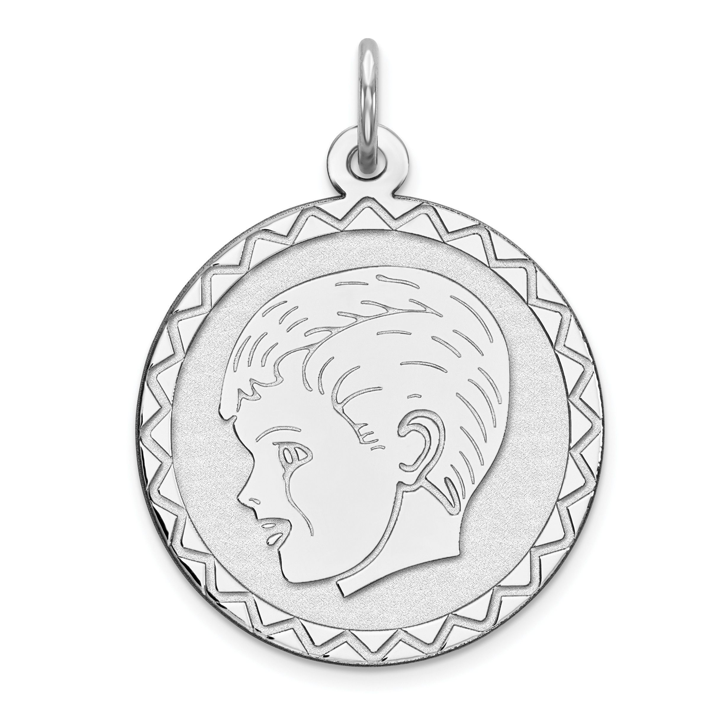 Sterling Silver Engraveable Boy Disc Charm QM311/18