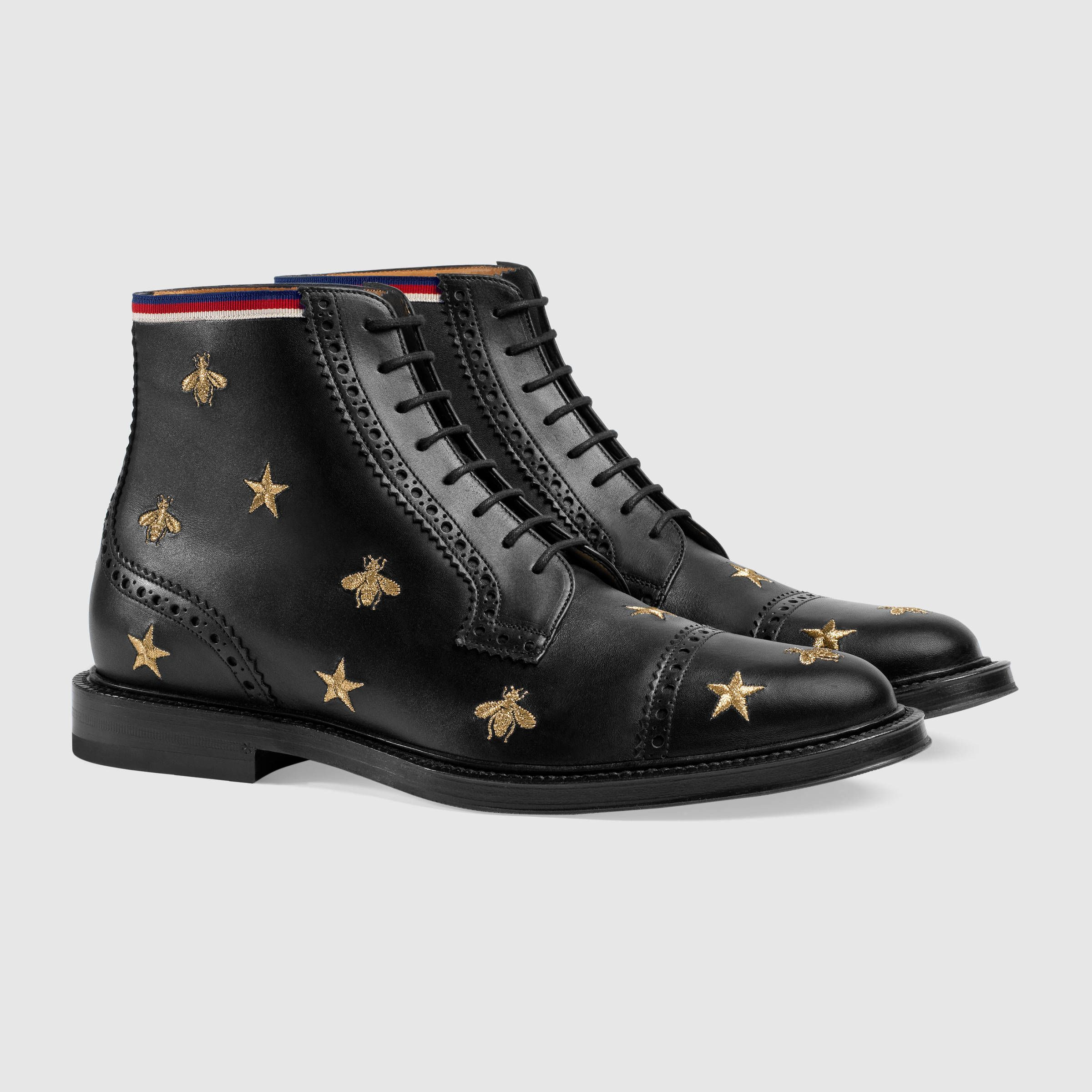 77dd0ad337f Gucci Leather embroidered brogue boot Detail 2 | Brogue, Derby ...