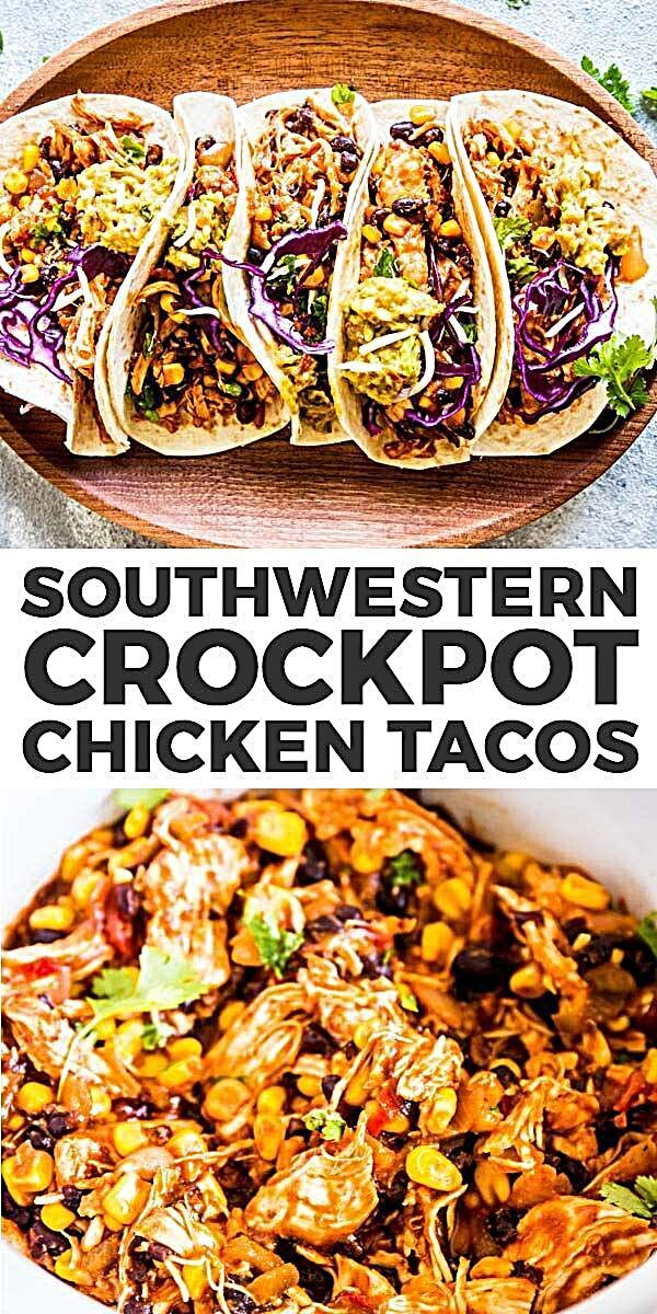 Southwestern Crockpot Chicken Tacos are so easy to make, you'll wonder why you haven't been making them all along! It will cook in your slow cooker all day long, then shred into tender Mexican chicken you can serve up with taco shells, guacamole and shredded cabbage. Put it on your meal plan this week! | #recipe #easyrecipes #dinner #easydinner #tacos #chicken #chickenrecipes #crockpot #crockpotrecipes #slowcooker #slowcookerrecipes #kidfriendly #healthyfood #healthyrecipes