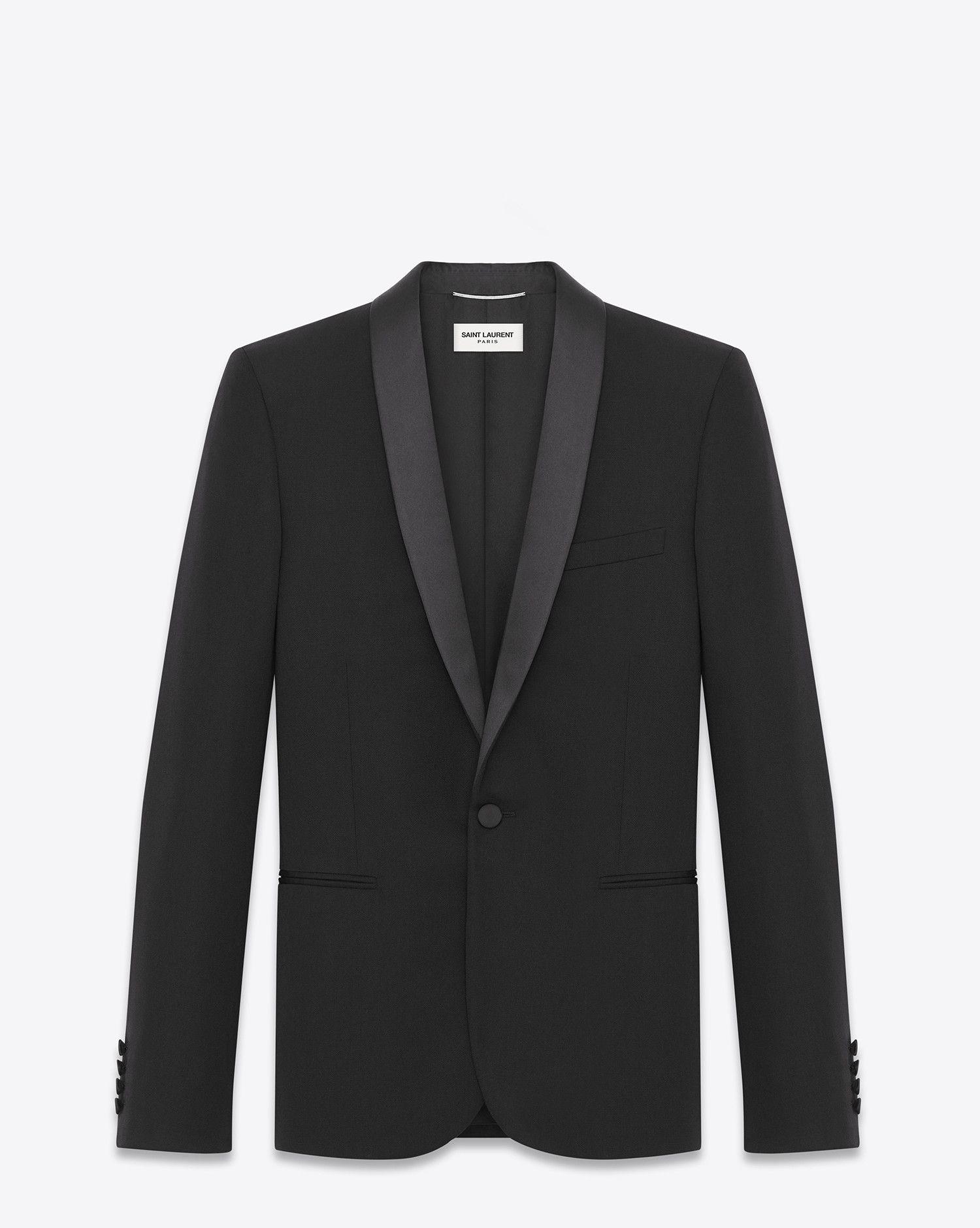 0aba104eed1 Saint Laurent Iconic Le Smoking Jacket In Black Grain De Poudre Textured  Wool - ysl.