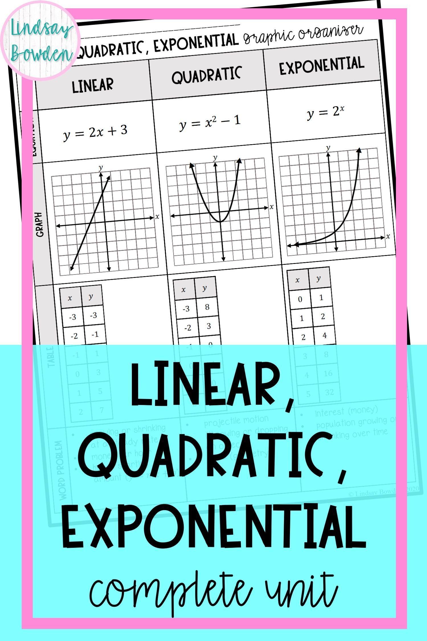 Linear Quadratic Exponential Unit Algebra 1 Unit 9 Quadratics Algebra Activities High School Algebra 1 [ 2249 x 1499 Pixel ]