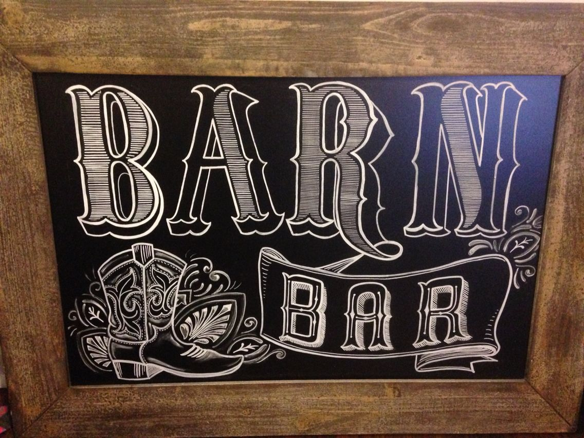 Chalkboard Designs Barn Bar Chalkboard Design Cowboy Boot And Western Embellishments