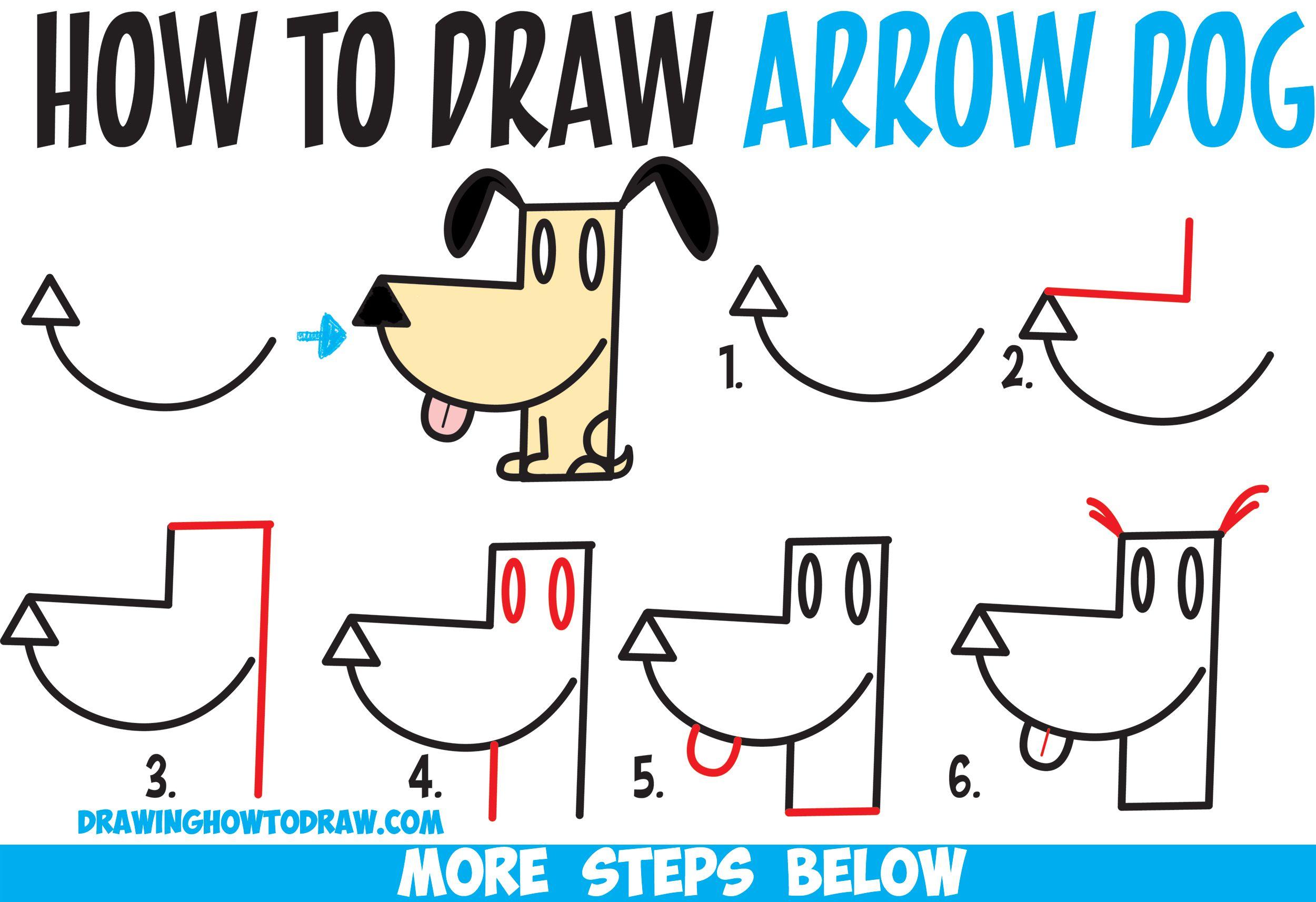 How to Draw a Cartoon Dog from an Arrow Shape - Easy Step ...