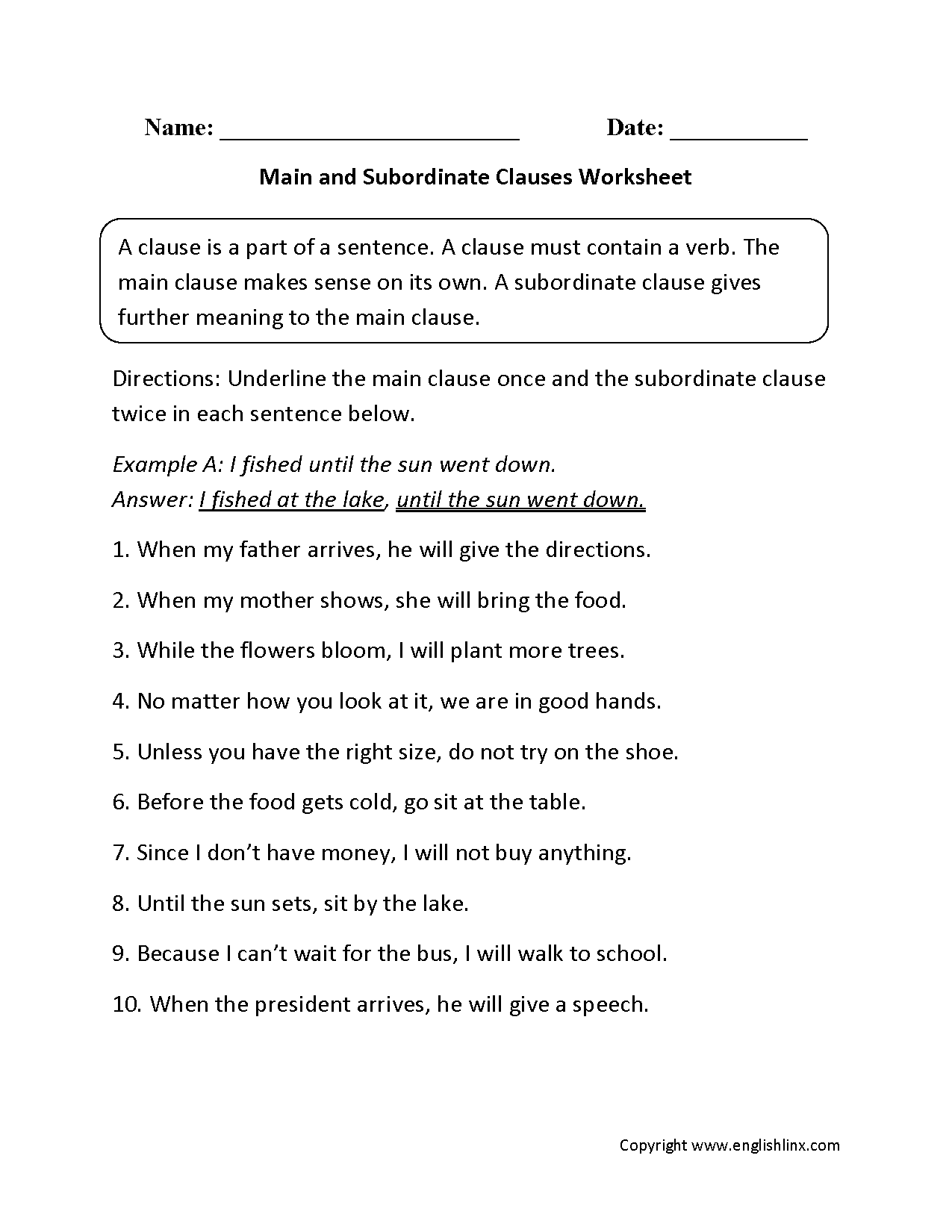 Main And Subordinate Clauses Worksheet