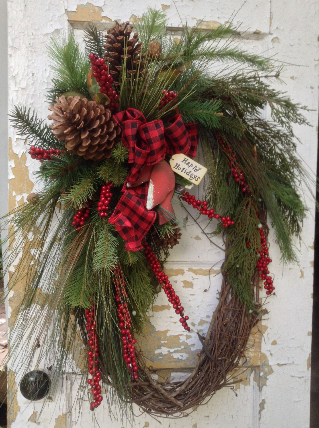 rustic wreath with pine cones and silk pine pick a favorite plaid or patterned ribbon and this will be a great winter wreath - Large Christmas Wreath