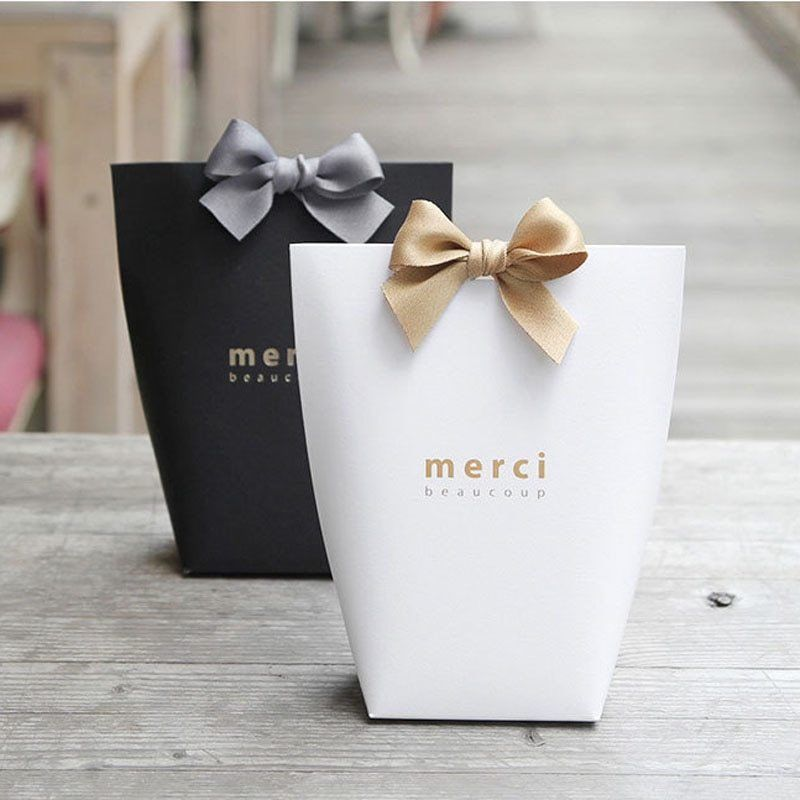 5Pcs Small Paper Gift Bag Kraft Bags Jewelry Packaging Party Shopping Plain