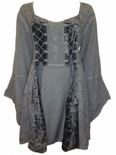 c524829308b eaonplus-Embroidered-Renaissance-GOTHIC-Corset-Tunic-Top-DARK-GREY-Size-18 -to-32
