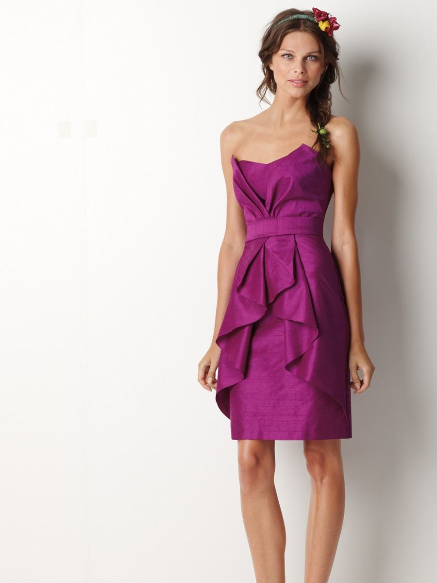 Love this! Fuschia Strapless Slim Dress with Draped Knee Length ...