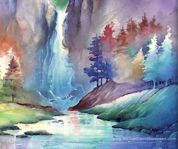 Hidden Falls Watercolor Print Whimsical Waterfall Landscape Etsy Watercolor Landscape Paintings Painting Watercolor Landscape