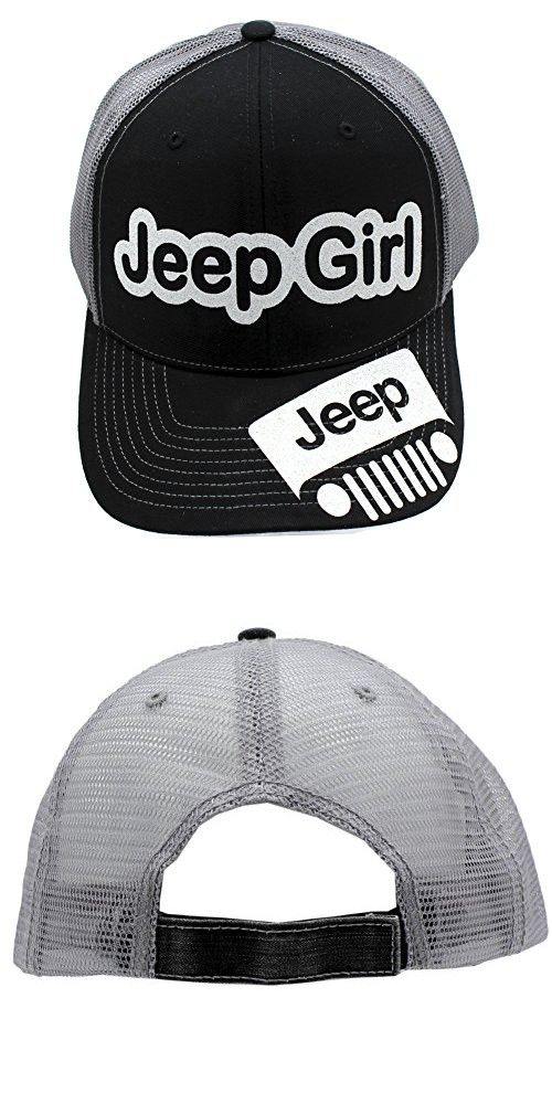 caf67bc94d9 Jeep Girl Glittering Trucker Style Cap Hat Black Grey White ...